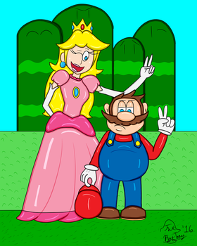 Mario and Peach Pose for a Photo by TheAntTony