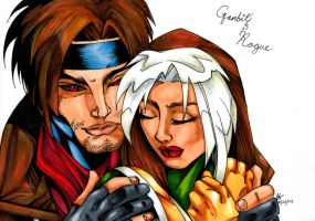 Gambit and Rogue by mrinx