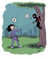 Hawkeye VS Spider-Man by QueenAravis