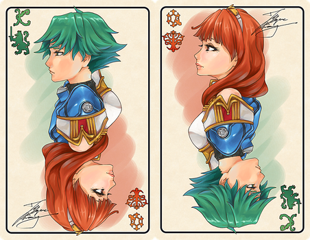 Alm and Celica Poker cards by fadingz