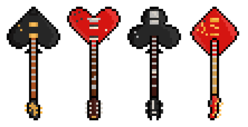 Pixel Poker Suit Guitars by gkillerb