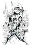 Young Avengers Black and white Print by Peter-v-Nguyen
