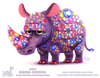 Daily Paint 1873# Rhine-oceros by Cryptid-Creations