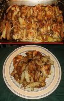 Oven-Roasted Drumsticks and French Fries by Windthin