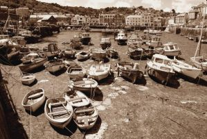 Mevagissey Harbour in Sepia by CitizenJustin
