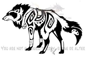 Snarling tribal wolf by Arixona