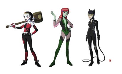 Poison Ivy, Catwoman and Harley Quinn by Michael-Chang