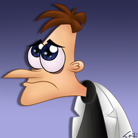 Dr. Doofenshmirtz with sad puppy eyes by Leibi97