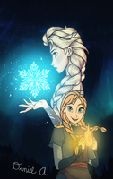 Elsa and Anna: Fire and Ice by DeeFlow22