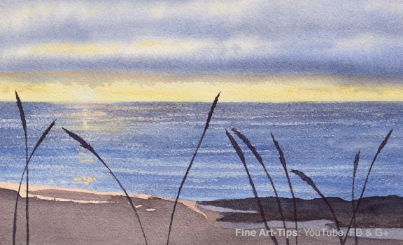 How to Paint a Waterscape (Beach) in Watercolor by ArtistLeonardo