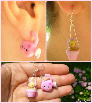 Watering can and dangly pot - fake ear plug by Bojo-Bijoux