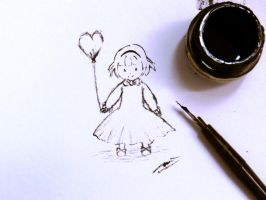 sketchy ink: little girl and balloon by vt2000