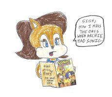 Sally Acorn reading an issue of IDW Sonic by dth1971