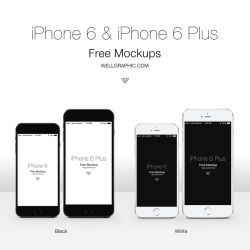 Apple iPhone 6 and iPhone 6 Plus Mockup PSD by wellgraphic