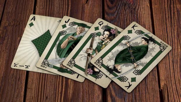 Heroes of Japan Playing Cards - Diamonds by kardeck-playingcards