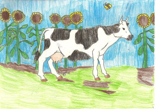 Sunflower Cow by falconfire