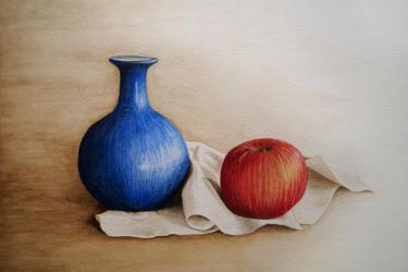 Blue Vase and Apple by Itherin