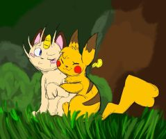 Two Little Pokemon In The Forest by 024Caitlyn