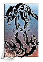 Double wolf tribal by NathalieNova