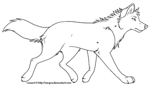Trotting Wolf Lineart MS Paint by mirzers