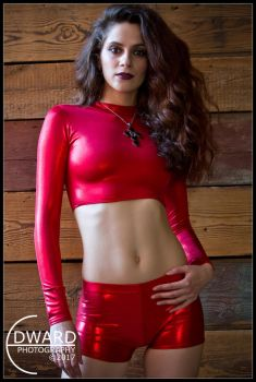 Lexxi in red spandex outfit by Edward-Photography