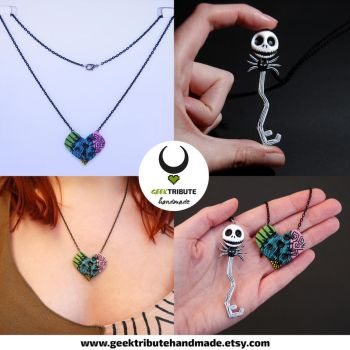 Jack and Sally necklaces key and lock by Ragamuffyn