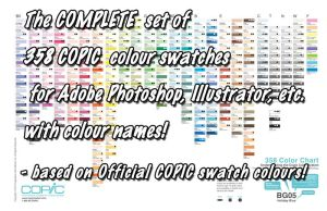 COPIC Complete 358 Colour swatches with names by d-signer
