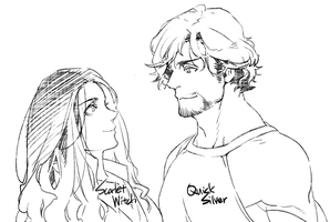 scribble : Scarlet Witch and Quicksilver by kugelcruor