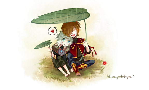 lets hide under this umbrella leaf by weixi