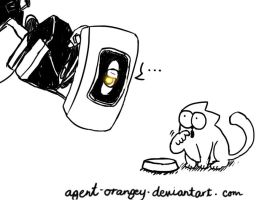 Glados and Simon's cat by agent-orangey