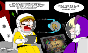 Playing card game in Space For DrScaphandre by SailorEnergy