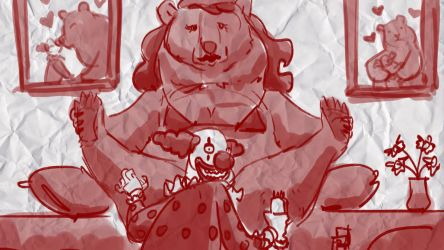 Clown Shaves Bear by bobmeatbag