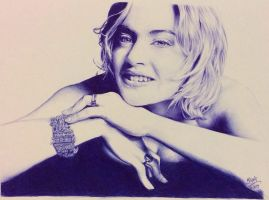 Ballpoint pen drawing of Kate Winslet by chaseroflight