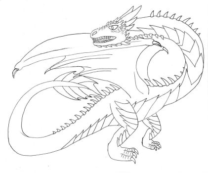 Dragon 10 (Lineart) by OkamiRyuu1993