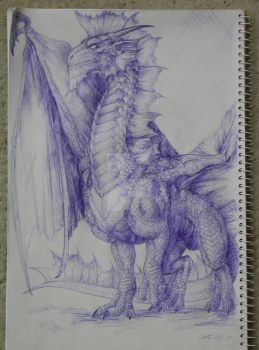 Silver Dragon with blue pen by BrassDragon