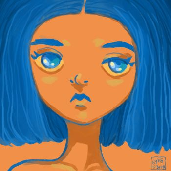 blue and orange by Leharc--BlueHeart