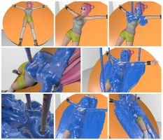 Kirie is tied to a board and slimed in blue by mmasia