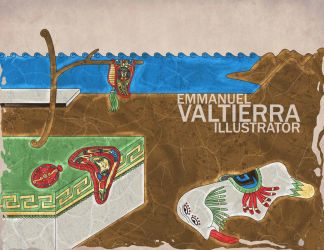 The persistence of the memory by dali -Aztec style by labalaenlabiblia