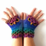 Crystal Rainbow Owl Gloves by FearlessFibreArts
