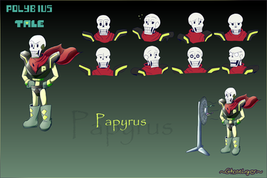 PolybiusTale Papyrus ref sheet. by GhostLiger