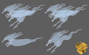 Elemental Ghost Horses from OUTER SPACE Vector by Pirill-Poveniy