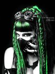 green cyber-goth girl by mistabys
