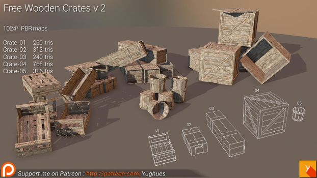 [Cubebrush] Free Wooden Crates v.2 by Yughues