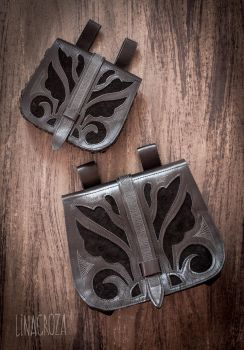 Leather waist bags for LARP by GreatQueenLina
