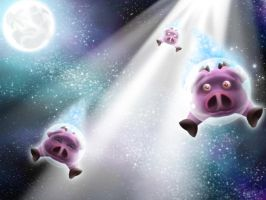 Super Flying Demon Space Pigs by Omegaro