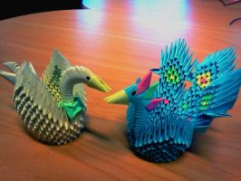 Peacock and Swan Origami by collarander