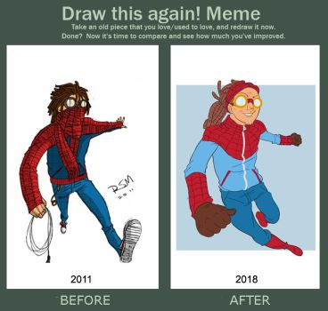 Spider Man Redesign - Before and after by bob-santiago