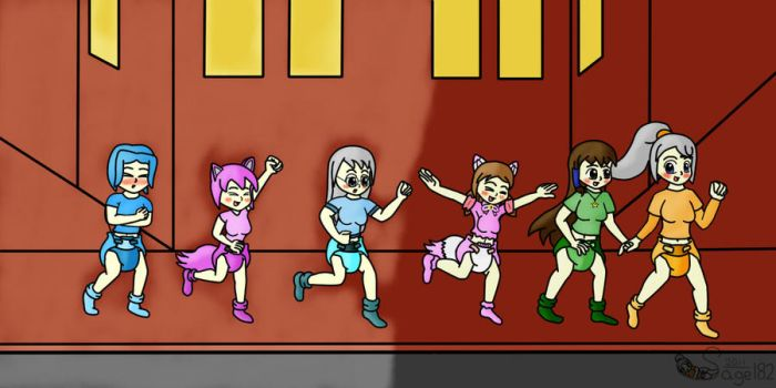 1st An. Running of the Diapers by NinoSatori