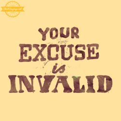 Your Excuse Is Invalid (close up) by ShirtSayings