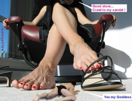 At the giantess feet by Alexflame